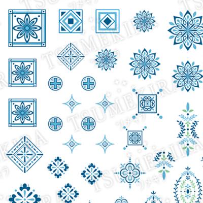 タイルパターン ブルー ネイルシ...