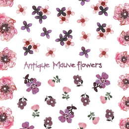 Antique Mauve flowers ネイルシール
